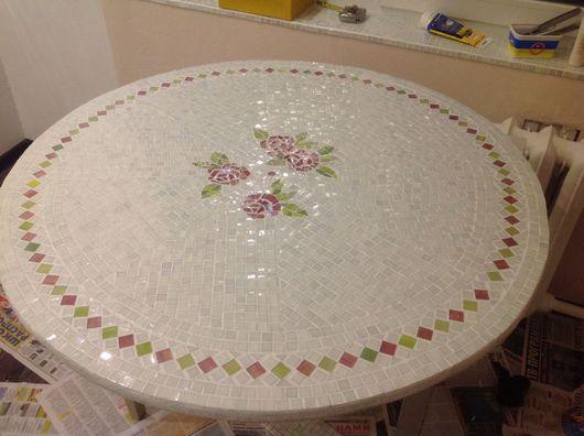 Мебель ручной работы. Ярмарка Мастеров - ручная работа. Купить Стол с мозаичной столешницей. Handmade. Белый, стол, перламутр