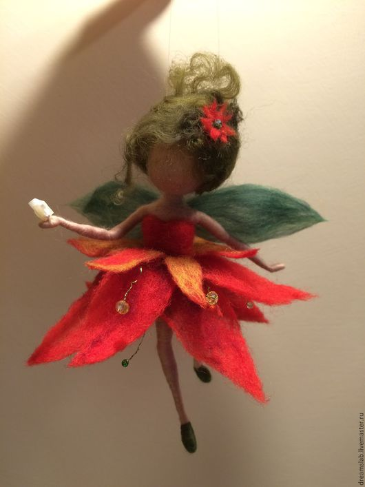 """Коллекционные куклы ручной работы. Ярмарка Мастеров - ручная работа. Купить Валяние Фея """"Рождественская звезда"""". Handmade. Ярко-красный"""