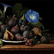 Картины и панно handmade. Livemaster - original item Pictures: Still life with blue Petunia and figs. Handmade.