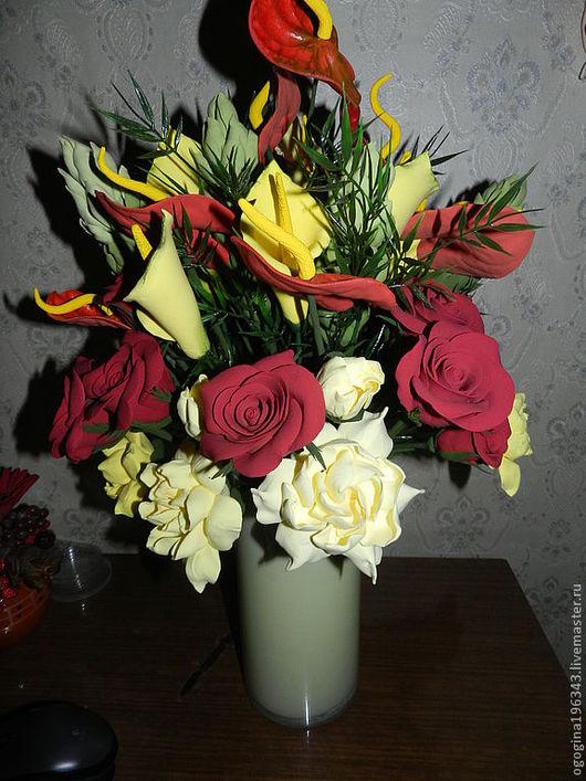 Интерьерные композиции ручной работы. Ярмарка Мастеров - ручная работа. Купить Тропические цветы в вазе. Handmade. Тропические цветы, каллы