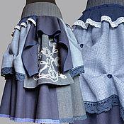 """Одежда ручной работы. Ярмарка Мастеров - ручная работа Юбка """"Полуночно-синий бохо"""". Handmade."""