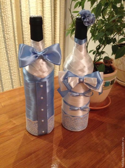 Свадебные аксессуары ручной работы. Ярмарка Мастеров - ручная работа. Купить Оформление бутылок. Handmade. Бутылка, оформление бутылок