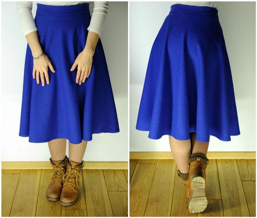 Юбки ручной работы. Ярмарка Мастеров - ручная работа. Купить Шерстяная юбка полусолнце. Handmade. Синий, теплая юбка