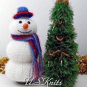 Christmas gifts handmade. Livemaster - original item Knitted gift decoration Snowman bottle cover on the bottle. Handmade.