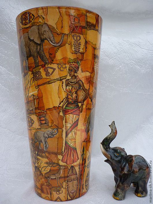 """Вазы ручной работы. Ярмарка Мастеров - ручная работа. Купить Ваза """"Саванна"""". Handmade. Оранжевый, ваза для сухоцветов, ваза стекло"""