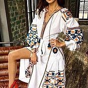 Одежда handmade. Livemaster - original item Linen boho Maxi dress long sleeve ethnic.. Handmade.