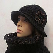 Шляпы ручной работы. Ярмарка Мастеров - ручная работа Комплект из шляпки и шарфика в черном цвете. Handmade.