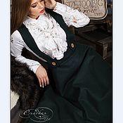 Одежда ручной работы. Ярмарка Мастеров - ручная работа Юбка сарафан пальто теплая полусолнце лямки съемные темно-зеленый. Handmade.