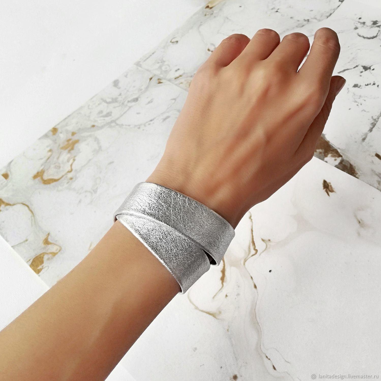 Серебряный кожаный браслет намотка Silver, Браслет-манжета, Москва,  Фото №1