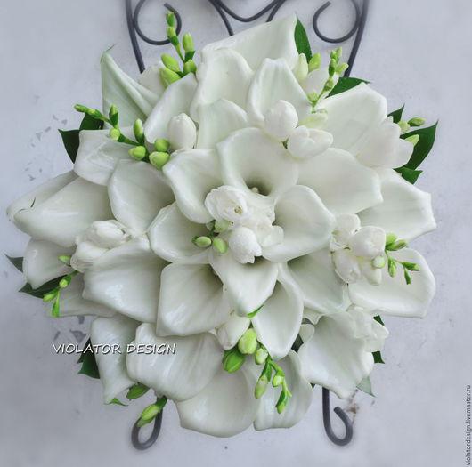 Свадебные цветы ручной работы. Ярмарка Мастеров - ручная работа. Купить Свадебныйбукет для невесты из белоснежных калл с ароматной фрезией. Handmade.