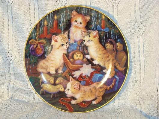 Винтажные предметы интерьера. Ярмарка Мастеров - ручная работа. Купить Jurgen Scholz- коллекционная  тарелка с котятами. Handmade. Коллекционная тарелка
