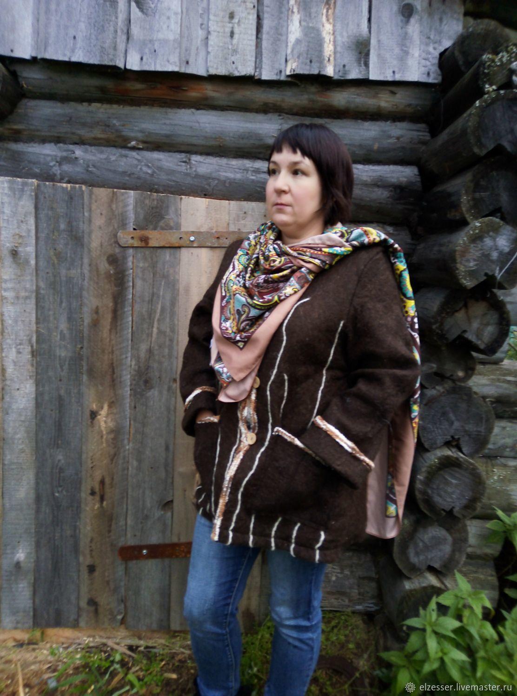 """Валяная куртка """"Шоколад и солёная карамель"""", Куртки, Приобье, Фото №1"""