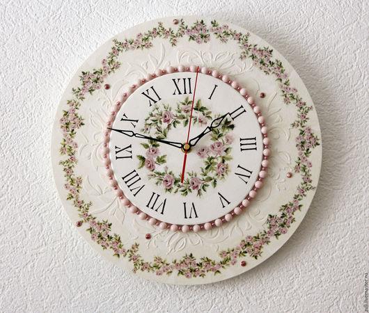 """Часы для дома ручной работы. Ярмарка Мастеров - ручная работа. Купить Часы настенные большие """"Венчание роз"""". Handmade. Белый"""