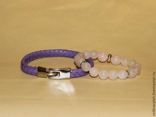 Браслеты ручной работы. Ярмарка Мастеров - ручная работа. Купить Комплект женских браслетов: плетенный сиреневый и розовый кварц. Handmade.