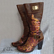 Обувь ручной работы handmade. Livemaster - original item Painting on shoes. Boots painted