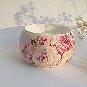 """Украшения ручной работы. Ярмарка Мастеров - ручная работа Широкий браслет """"Фарфоровые розы"""". Handmade."""