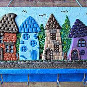 Для дома и интерьера handmade. Livemaster - original item Housekeeper Blue City.The housekeeper wall. decor polymer clay.. Handmade.
