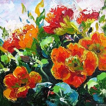 Картины и панно ручной работы. Ярмарка Мастеров - ручная работа Небольшая картина маслом на холсте Картина с цветами Петунии. Handmade.