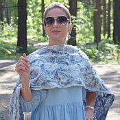 Аксессуары handmade. Livemaster - original item Felted scarf made of wool and silk.Warm Women`s Scarf Blue Lines. Handmade.