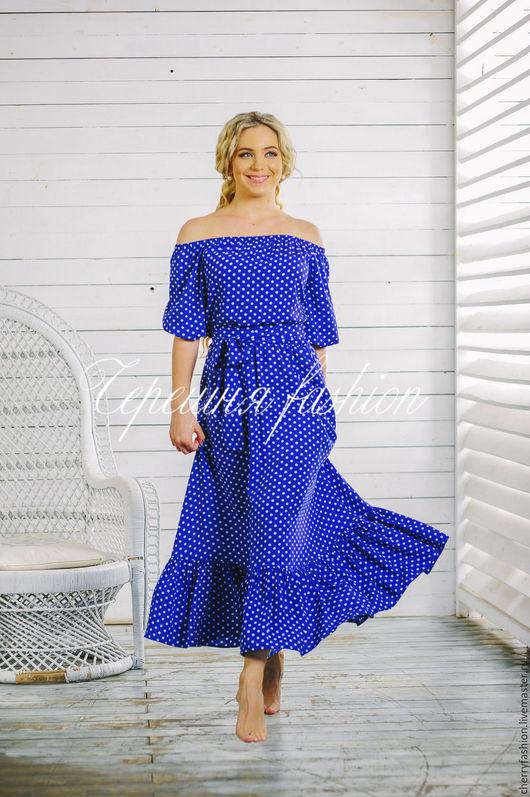 """Платья ручной работы. Ярмарка Мастеров - ручная работа. Купить Платье """"Маруся"""" (в горошек). Handmade. Синий, Синее платье"""