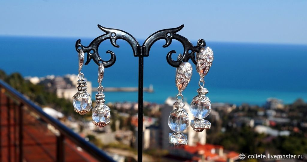 Earrings made of rock crystal 'Clear consciousness!', Earrings, Moscow,  Фото №1