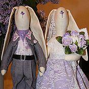 Куклы и игрушки ручной работы. Ярмарка Мастеров - ручная работа Свадебные зайцы в сиреневых тонах. Handmade.