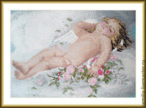 """Вышивка ручной работы. Ярмарка Мастеров - ручная работа. Купить Набор для вышивания """"Спящий ангелочек"""" 31x21 см. Handmade. Ангел"""