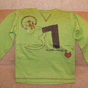 Винтаж handmade. Livemaster - original item Vintage clothing: Light green long sleeve t-shirt size 92. Handmade.