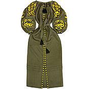 "Одежда handmade. Livemaster - original item Long embroidered Boho style dress ""Mermaid`s Flowe. Handmade."