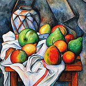"""Картины и панно ручной работы. Ярмарка Мастеров - ручная работа Рисунок """"Натюрморт с фруктами"""" (по мотивам П. Сезанна). Handmade."""