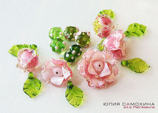 All for Jewelry Making handmade. Livemaster - handmade. Buy Set of beads-lampwork beads 'French rose. Provence'.