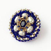 Украшения handmade. Livemaster - original item blue beaded brooch and pearls. Handmade.