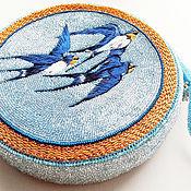 Сумки и аксессуары handmade. Livemaster - original item Handbag round beaded embroidered Swallows. Handmade.