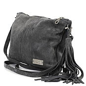 Сумки и аксессуары handmade. Livemaster - original item Crossbody Bag Suede Grey Small Clutch with Tassel Suede. Handmade.