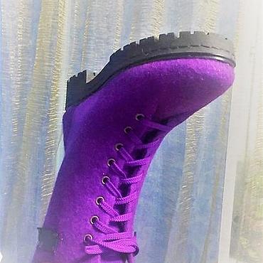 Обувь ручной работы. Ярмарка Мастеров - ручная работа Ботильоны валяные Лиловые. Handmade.