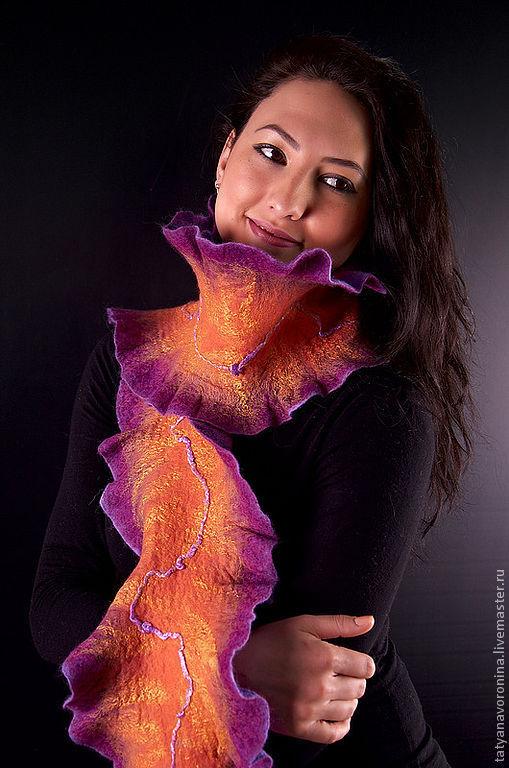 Шарфы и шарфики ручной работы. Ярмарка Мастеров - ручная работа. Купить Войлочный шарф Оранжевая мечта. Handmade. Шерсть, фиолетовый