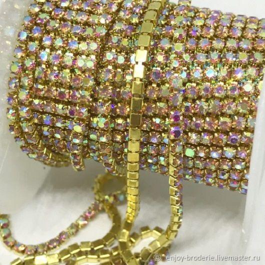 Стразовая лента Персик в золоте АВ, 2 мм, 10 см, 316-3, Кристаллы, Санкт-Петербург,  Фото №1