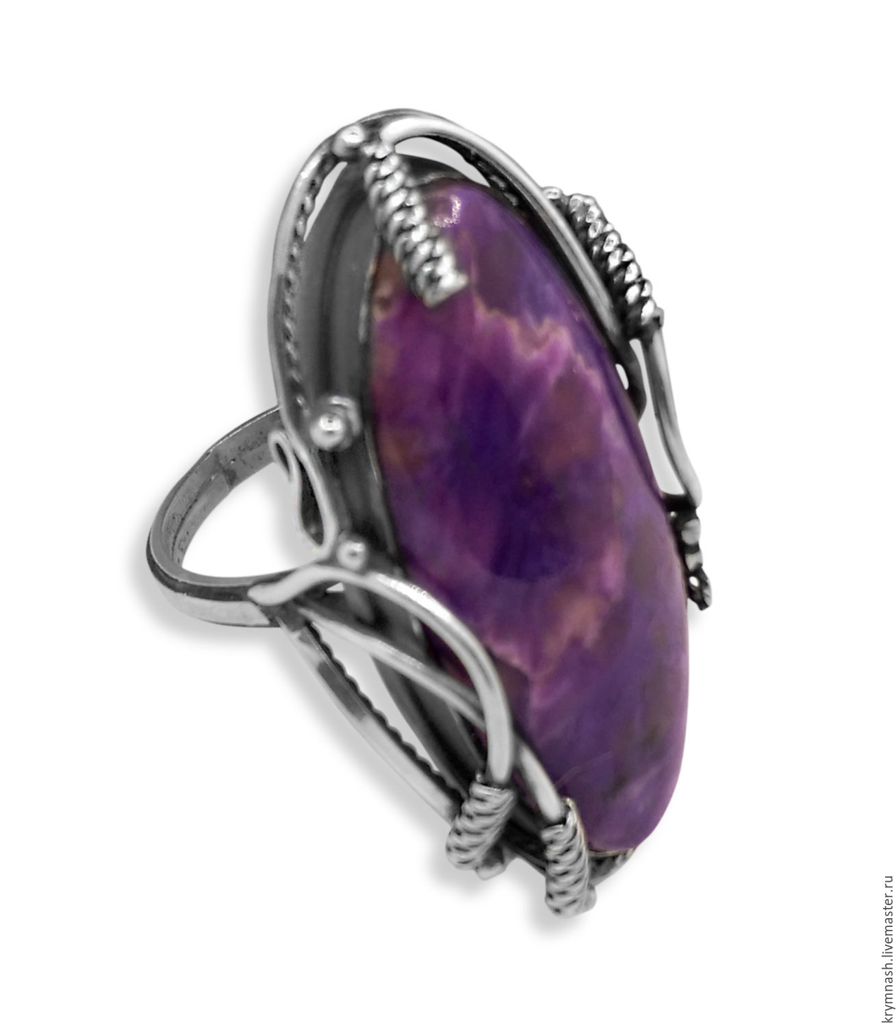"Ring ""Enchanted"" with charoite, silver, Rings, Moscow,  Фото №1"
