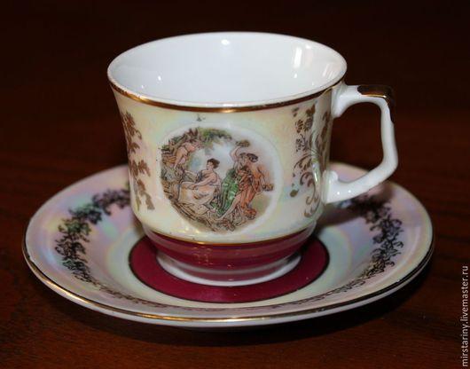Винтажная посуда. Ярмарка Мастеров - ручная работа. Купить Фарфоровая кофейная пара, Мадонна, перламутр, Henneberg, Германия. Handmade. Разноцветный