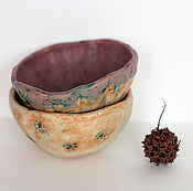 Посуда ручной работы. Ярмарка Мастеров - ручная работа Пара керамических пиал Будет апрель. Handmade.