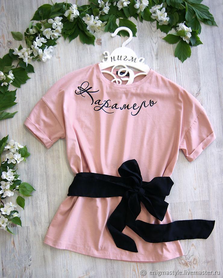Pink women's long t-shirt, summer oversize t-shirt Caramel, T-shirts, Novosibirsk,  Фото №1