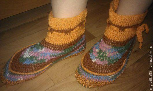 Обувь ручной работы. Ярмарка Мастеров - ручная работа. Купить уютные тапочки. Handmade. Тапки домашние, тапочки женские, удобные