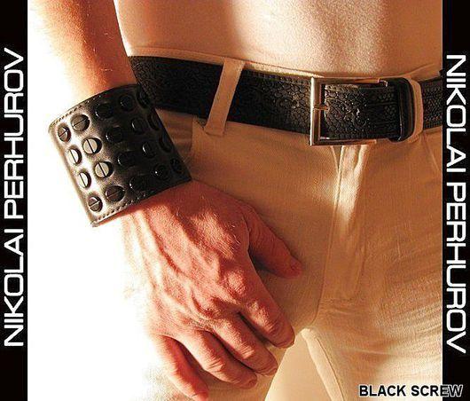 """Украшения для мужчин, ручной работы. Ярмарка Мастеров - ручная работа. Купить БРАСЛЕТ  """" BLACK SCREW """" ( НАТУРАЛЬНАЯ КОЖА ). Handmade."""
