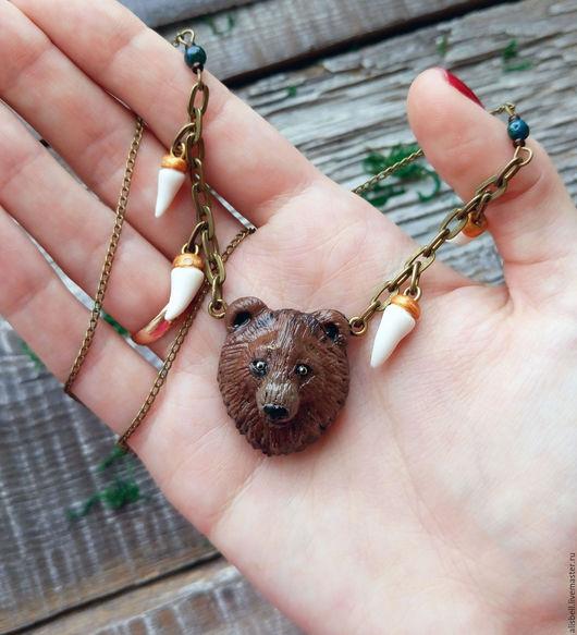 Кулоны, подвески ручной работы. Ярмарка Мастеров - ручная работа. Купить Кулон с медведем. Handmade. Клык медведя, бохо