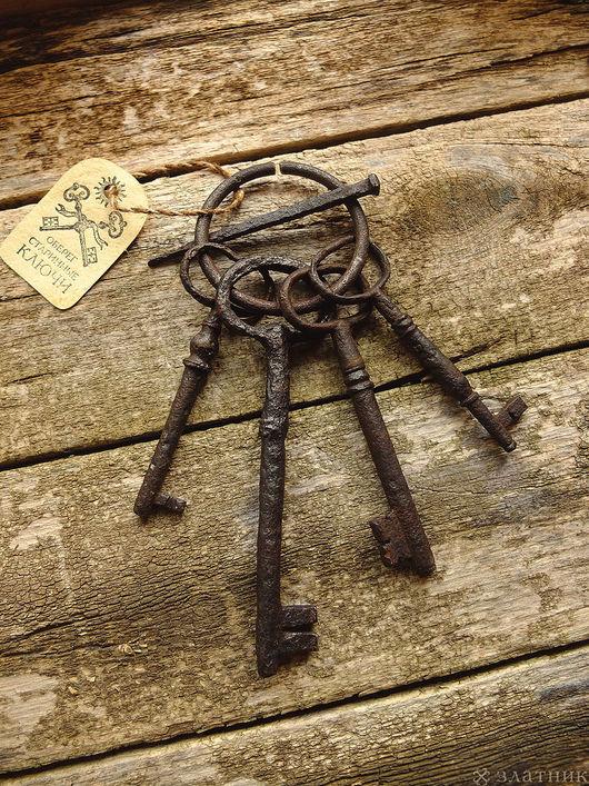 4 старинных ключа на связке. Старинные ключи середины 19 века