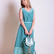 Одежда handmade. Livemaster - original item Linen dress with lace