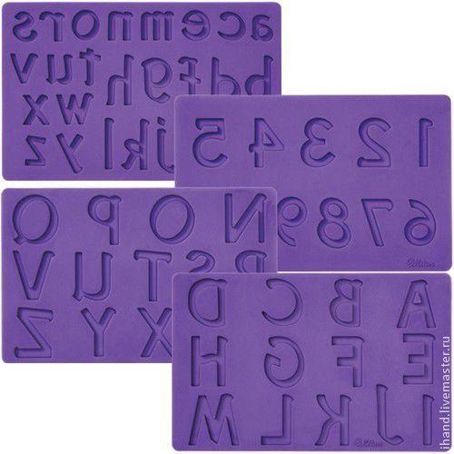 Другие виды рукоделия ручной работы. Ярмарка Мастеров - ручная работа. Купить Мат (молд) для нанесения рисунка на мастику: Буквы и цифры. Handmade.
