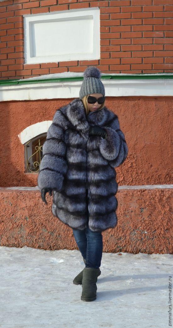 Fur coat black brown (silver) foxes.Cross, Fur Coats, Omsk, Фото №1