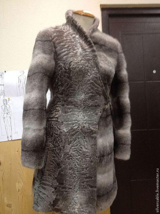 Верхняя одежда ручной работы. Ярмарка Мастеров - ручная работа. Купить Меховое пальто из норки и каракуля Swakara. Handmade. Серый