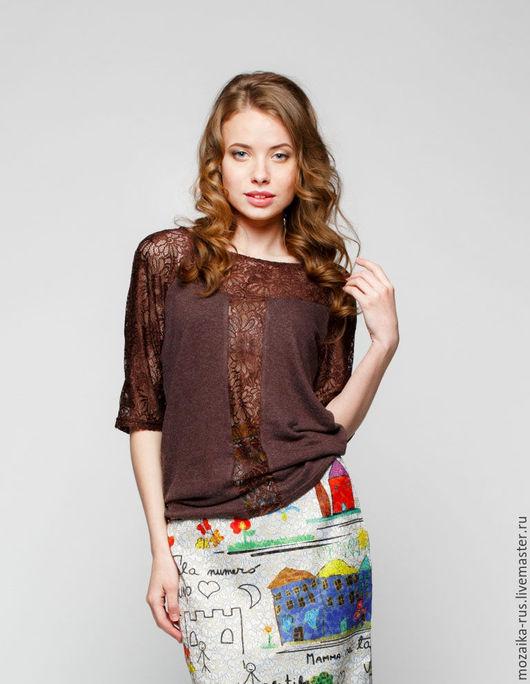 Блузки ручной работы. Ярмарка Мастеров - ручная работа. Купить Блуза шоколад из вискозы с кружевом. Handmade. Коричневый, блуза нарядная